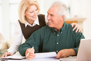 Older couple planning their retirement